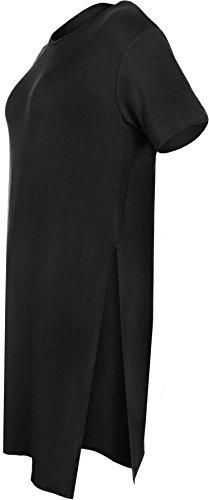 WearAll - Damen Oversize Baggy Short Sleeve Round Neck Plain Top-Seiten-Schlitz - 6 Farben - Größe 36-42 Schwarz