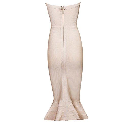 HLBandage Women's Sexy Strapless Mermaid Fishtail Midi Rayon Bandage Dress Beige