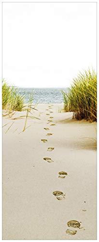 Wallario selbstklebendes XXL Poster - Spuren im Sand- Fußspuren durch die Düne zum Meer in Premiumqualität, Größe: 80 x 200 cm