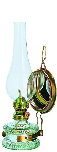 Mittlere Oellampe antikes Design mit Spiegel befüllbar mit Fuß aus transparentem Glas dekorative Petroleumlampe mit verziertem gold farbigen Dochthalter in Messinghalterung mundgeblasen Höhe ca. 32,5 cm