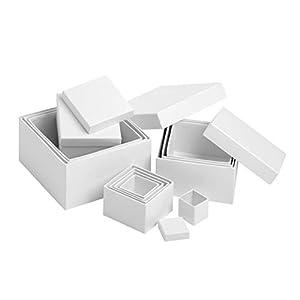 VBS Quadratschachteln 12er-Set, von 15x15x9,5cm bis 4,5x4,5x3cm