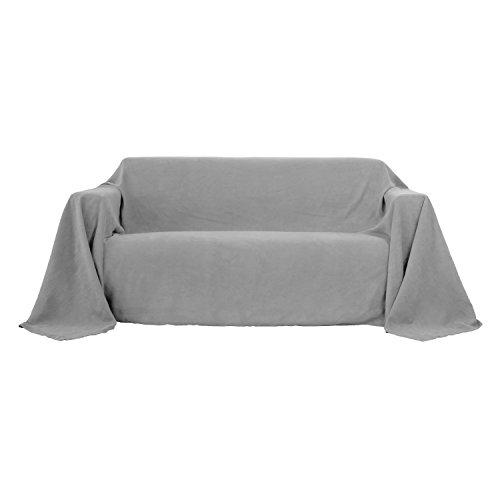 Deconovo Jeté de Canapé 3 Places Protection pour Canapé Jeté de lit Suédé 210x280cm Gris Clair