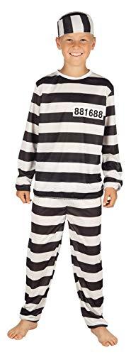 Katjas Dreamland 7-9 Jahre Kinder Kostüm Gefangener Insasse Karneval Häftling Gefängnis 82182
