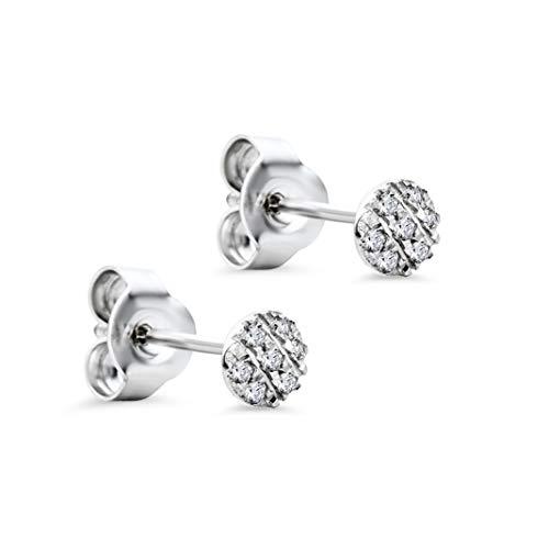 Orovi Ohrstecker Diamant Ohrringe Set,Damen Weißgold Ohrstecker 9 Karat (375)Brillanten 0.05crt (Diamant-ohrringe Set)