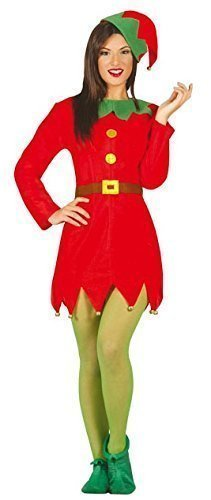Damen Sexy Weihnachten Santa's Helfer Elfen Kostüm Kleid Outfit UK 12-14 16-18 - Rot, (Kostüm Damen Uk Elfen)