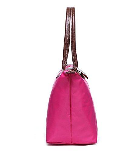 fba6ee19bda42 YAAGLE Handtasche Damen Nylon Schultertasche für Shopper Strand Reise  Faltbar rosarot