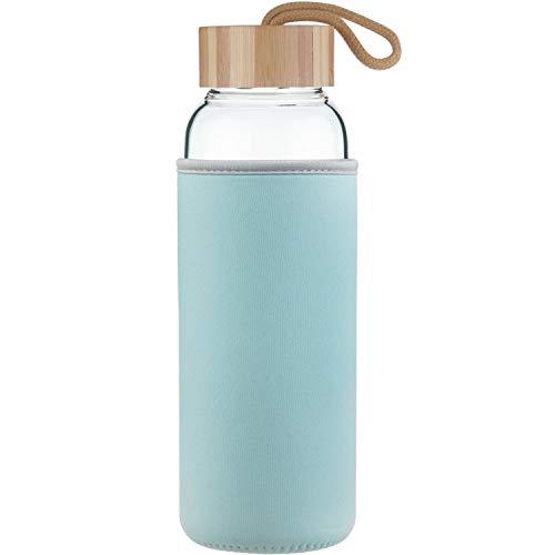 Life4u 1 L Sport Trinkflasche Glas Große Klappe Wasser Flasche Mit Bambus Deckel 1000 ml / 1 Litre (Wasser Flasche Glas)