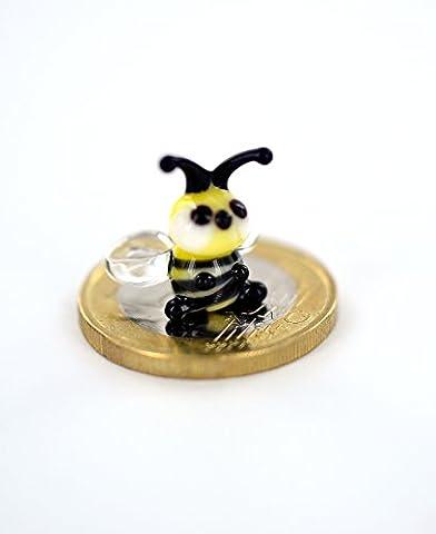 Biene Mini - Kleine Honigbiene - Waldbiene Miniatur Figur aus Glas Orange Schwarz - Glasfigur Bienchen Glastier Deko Honig Setzkasten Vitrine