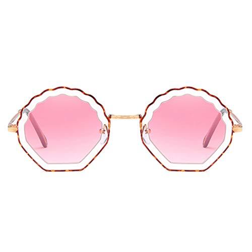 Plzlm Blume geformt Runde Sonnenbrille Metallrahmen PC Objektiv Sonnenbrillen UV400 Schutz Shades Brillen