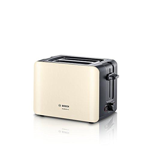 Bosch Hausgeräte TAT6A117 ComfortLine Kompakt-Toaster (1090 Watt, Auftau-Funktion, automatische Brotzentrierung), Kunststoff, Creme/black Grey