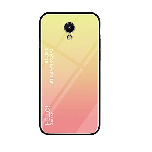 Meizu M5S Cover Silicone,Custodia in vetro temperato Cover per Meizu M5S (Giallo sfumato)