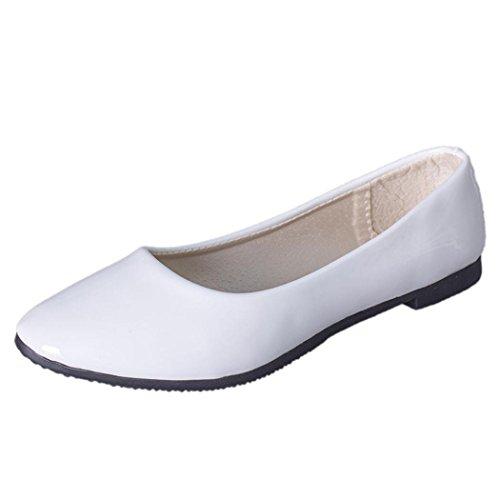 Klassische Brautschuhe Damen Ballerinas Freizeit Schuhe Geschlossene Elegante Slippers Stoffschuhe Spitze Schuhspitze Abendschuhe Slipper Party Schuhe Geschlossene Tanzschuhe LMMVP (41EU, Weiß)