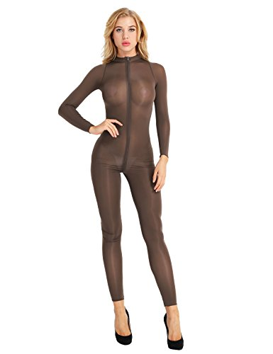 iiniim Damen Overall Catsuit Transparent Einteiler Bodysuit Ganzkörperanzug Party Clubwear, Kaffee, L