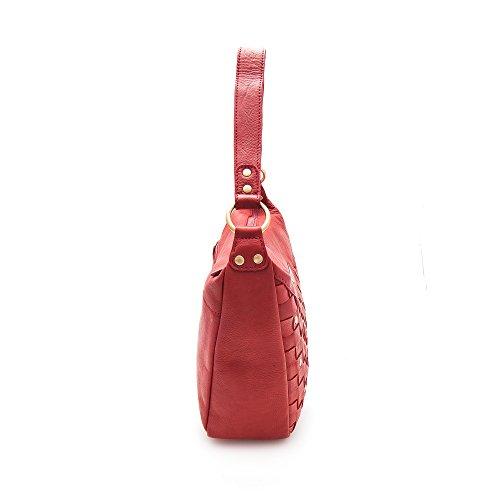 Zerimar Borsa Donna In Vera Pelle Modello Unico Bella Con Diverse Tasche Borsa In Vera Pelle Rossa