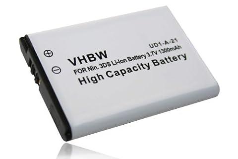 vhbw Li-Ion Akku 1300mAh (3.7V) für Spielekonsole Nintendo 3DS, N3DS, CTR-001, MIN-CTR-001 wie CTR-003,