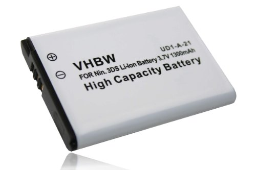 vhbw Akku passend für Nintendo 2DS, 3DS (CTR-001, MIN-CTR-001), New 2DS (XL), Wii U Pro & Switch Pro Controller wie CTR-003 - (Li-Ion, 1300mAh, 3.7V) (Switch Nintendo 3ds Xl-c)