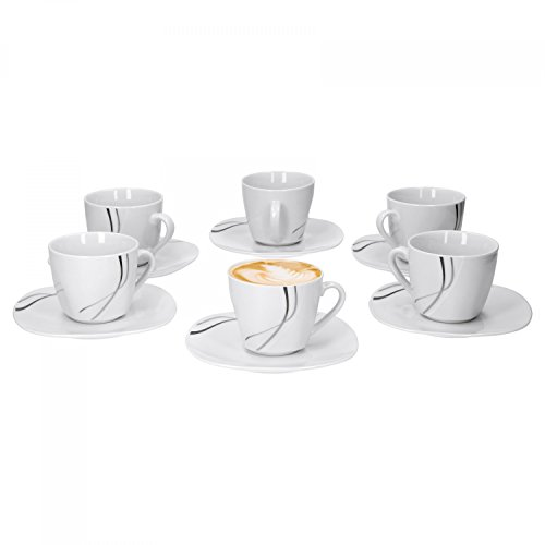 Van Well 6x 2-tlg. Kaffeetassen-Set Silver Night, kleine Tasse 180 ml + Untertasse, Hotelporzellan,...