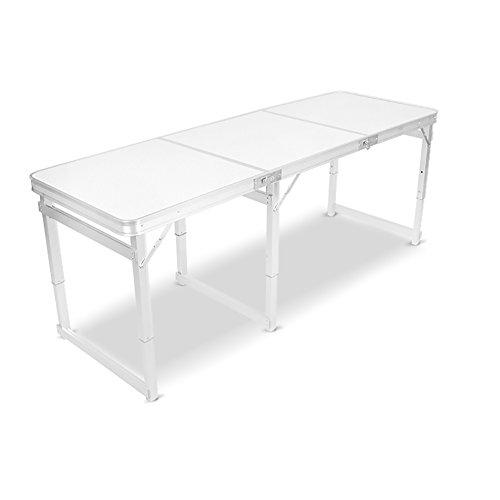 -Klapptisch aus Holz - 6 Fuß Camping mit Griff und höhenverstellbar - Aluminium-Bein schwere faltende Esszimmer - Computer-Tisch && (Farbe : Weiß) ()