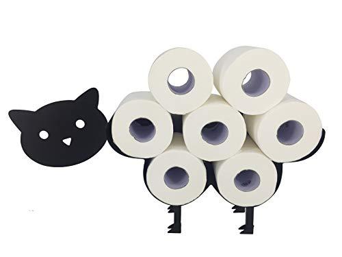 RS Trade Toilettenpapierhalter stehend \'Katze\' schwarz pulverbeschichtet aus massivem Stahlblech, Toilettenrollenhalter freistehend oder Wandmontage, WC Papier Halter für bis zu 7 Klopapier Rollen