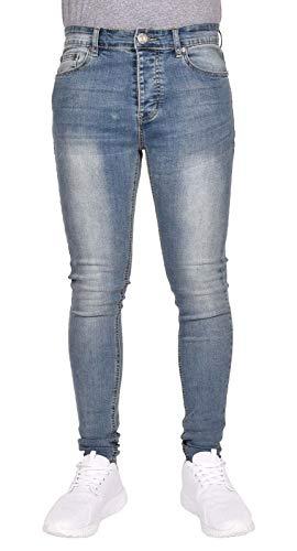 True Face Herren Super Skinny Faded Spray On Tight Jeans Gr. 30 W/32 L, Blue Wash -
