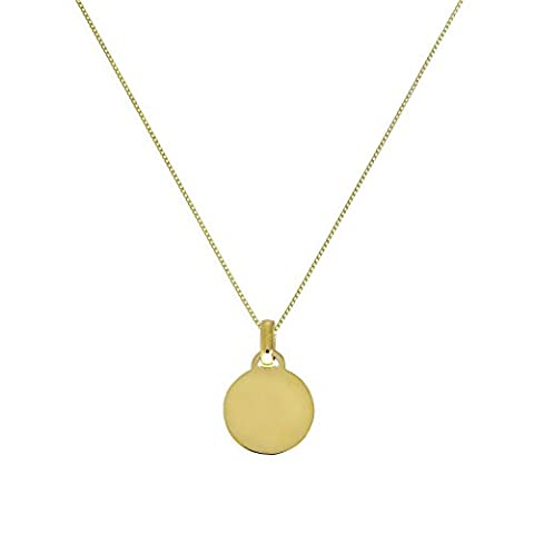 9ct Gold Small Engravable Circle Pendant on 18 Inches Chain