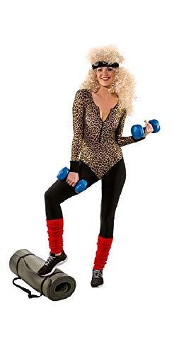 Back 80's The To Kostüm - shoperama Sexy Damen Langarm-Body mit Leoparden-Print Leo-Druck 80er Jahre Achtziger Aerobic Gymnastik-Anzug Trash Bad Taste Retro, Größe:L/XL