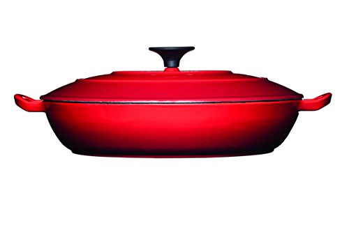 MasterClass Shallow Cast Iron Red Casserole Dish with Lid, Red, 3.5 L