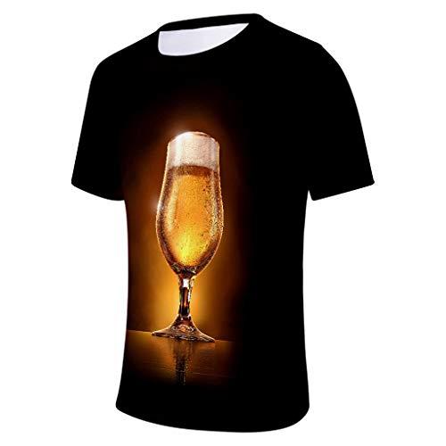 SHE.White Unisex 3D Druck Lustige Grafik T-Shirt Rundhal Kurzarm Tunika Männer Bier Party Oberteile Sommer Casual Druck Tee Hemd Große Größe Top M-4XL