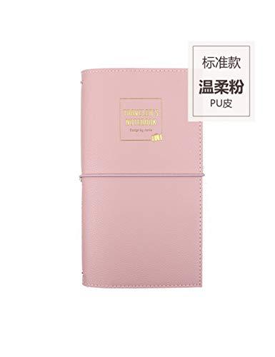 ZXSH Notizbuch Vintage Cover Reisende Notebooks Journal Buch Passport Planner Bullet Journals Schule & Office Supplies, Große Rosa