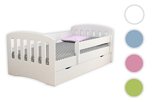 Kocot Kids Kinderbett Jugendbett 80x160 80x180 Weiß mit Rausfallschutz Matratze Schubalde und Lattenrost Kinderbetten für Mädchen und Junge - Classic I 180 cm