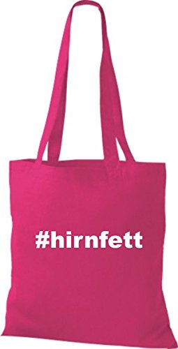 Shirtstown Stoffbeutel hashtag # hirnfett fuchsia