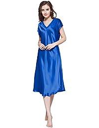 0530a5351c4aea LilySilk Seide Nachtkleider Maulbeerseide V Ausschnitt Nachthemd Damen Lang  22 Momme Verpackung MEHRWEG