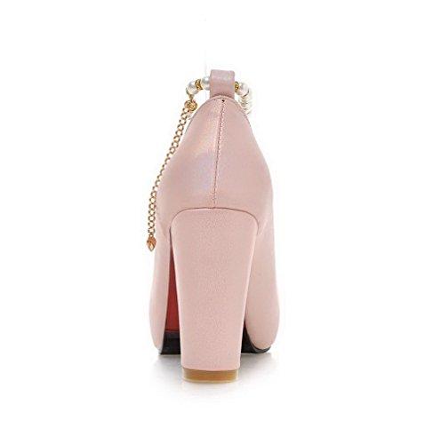 AllhqFashion Damen Schnalle Hoher Absatz Rein Pu Leder Rund Zehe Pumps Schuhe Pink