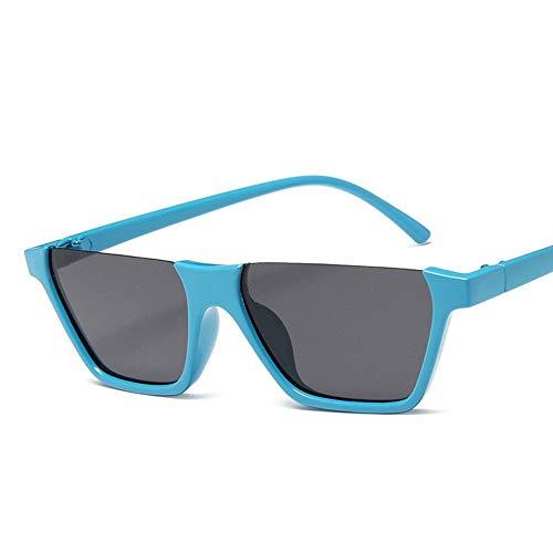 WDDYYBF Sonnenbrillen, Klassische Mode Retro Sonnenbrille Super Hälfte Frame Brille Cat Eye Semi-Rimless Frauen Sonnenbrille Brille Schutzbrille Uv 400 Sky Blue Frame Graue Linse