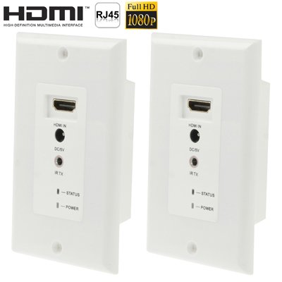 Full HD HDMI 1080P Wall Plate Extender Over CAT5e/6e 30 M (Transmission Distance Using Dual Câble UTP Net Transmit-to-HDMI (Signal) White)