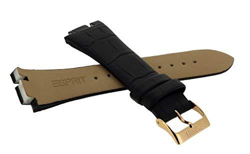 Esprit Uhrenarmband Leder Band schwarz in Kroko-Optik ohne Naht für ES101962 ES102082