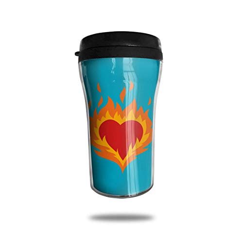 Bgejkos Burning Heart 8.45oz Coffee Mugs Birthday Gifts Insulated Sport Bottle Leakproof 16 Oz Sip-top