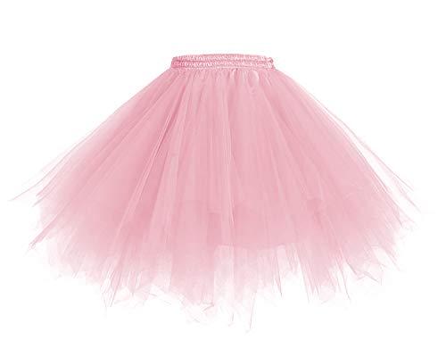 HomRain 1950 Petticoat Tutu Unterrock Underskirt für Rockabilly Kleid Light Coral M