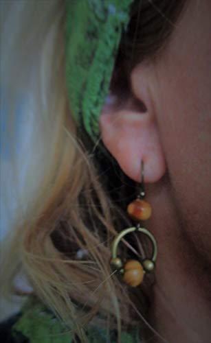 ♥ WURZELHOLZ & BRONZE RING ♥ vintage Ohrringe mit Holz Perlen und handgefertigten Haken