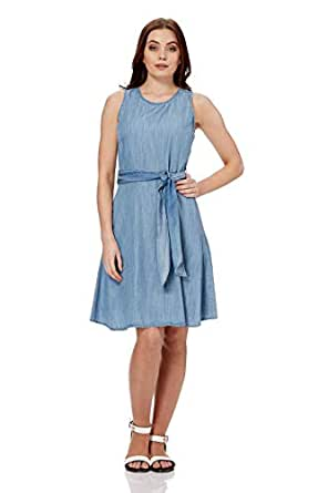 5158fc2d5b Image Unavailable. Image not available for. Colour  Roman Originals Women  Denim Skater Dress with Pockets - Ladies Cotton Knee Length Sleeveless  Daytime ...