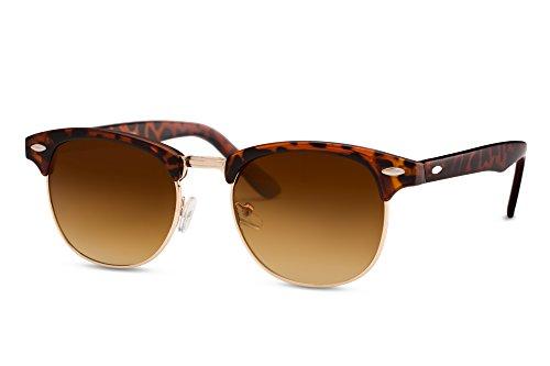 Cheapass Sonnenbrille Clubmaster Braun UV400 Gradient Gläser Vintage Design Leo-Print Rahmen Damen Herren