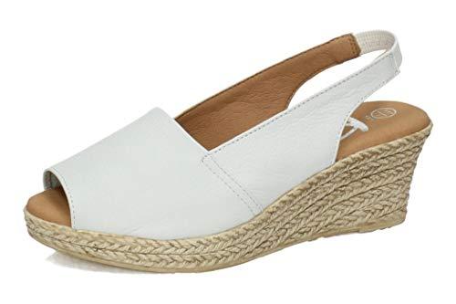 KARRALLI 3900 Sandalias Piel Y Gel Mujer Alpargatas Blanco 41