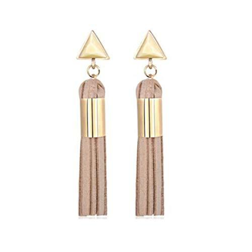 LJSLYJ Dreieck Lange Quaste Ohrringe Vintage Wildleder Stoff geometrische Tropfen Ohrringe Schmuck Zubehör, Abricot -