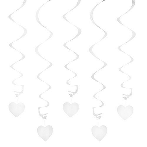 Preisvergleich Produktbild Oblique-Unique® Deckenhänger Spiral Girlanden mit Herzen - Farbe wählbar (Weiß)
