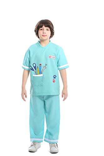 YuStar Kinder Tierärztliches Halloween-Kostüm, Kinderkostüm, Rollenspiel, Medizinisches Personal - Zwei Farben optional Gr. XS, - Marine Blues Kleid Kind Kostüm