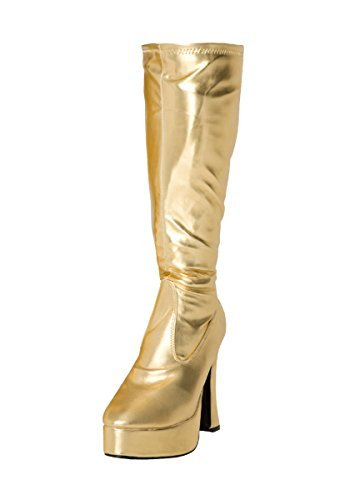 Kostüm Kniehoch Plateau Stiefel 60s 70s Retro Look GoGo-Stiefel - Gold, (Stiefel Kostüm Gold)