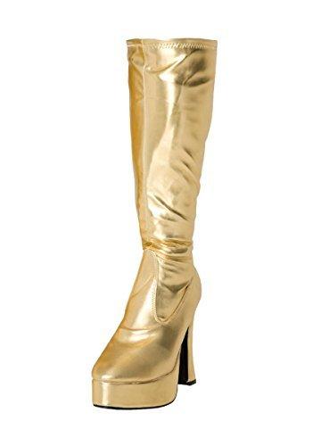 Kostüm Kniehoch Plateau Stiefel 60s 70s Retro Look GoGo-Stiefel - Gold, 7 (Stiefel Gold-erwachsene)