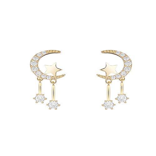 zhagnyy S925 Silber Nadel, Hypoallergene Sterne Mond Ohrringe Kurze Ohrringe Temperament Persönlichkeit Wilde Ohrringe Ohrringe 2,3 * 0,9 cm