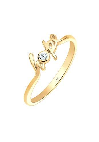 Elli Premium Damen-Ring Statement-Schriftzug Hope 585 Gelbgold Diamant (0.03 ct) weiß Brillantschliff Gr. 54 (17.2) - 0603730414_54