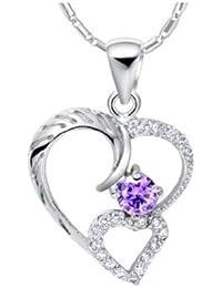 findout or blanc 18 carats plaqué Améthyste coeur Collier en argent diamant